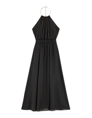 Metal Ring Bare Back Halter Chiffon Maxi Dress