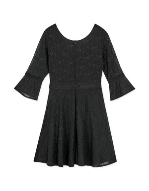 Embroidered Lace Button Up 3/4 Sleeve Flare Dress
