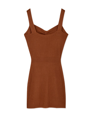 Scrunch Front Bare Waist Knitted Bodycon Dress