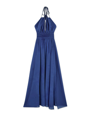 Lace Trim Tassel Halter Strap Chiffon Slit Maxi Dress