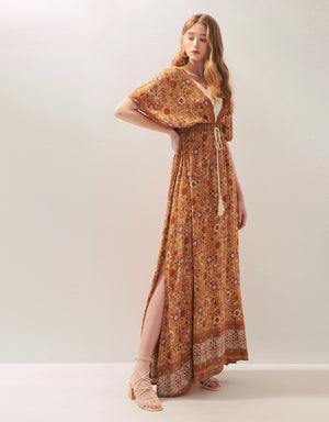 Exotic Printed Deep V-Neck Ribbon Slit Maxi Dress