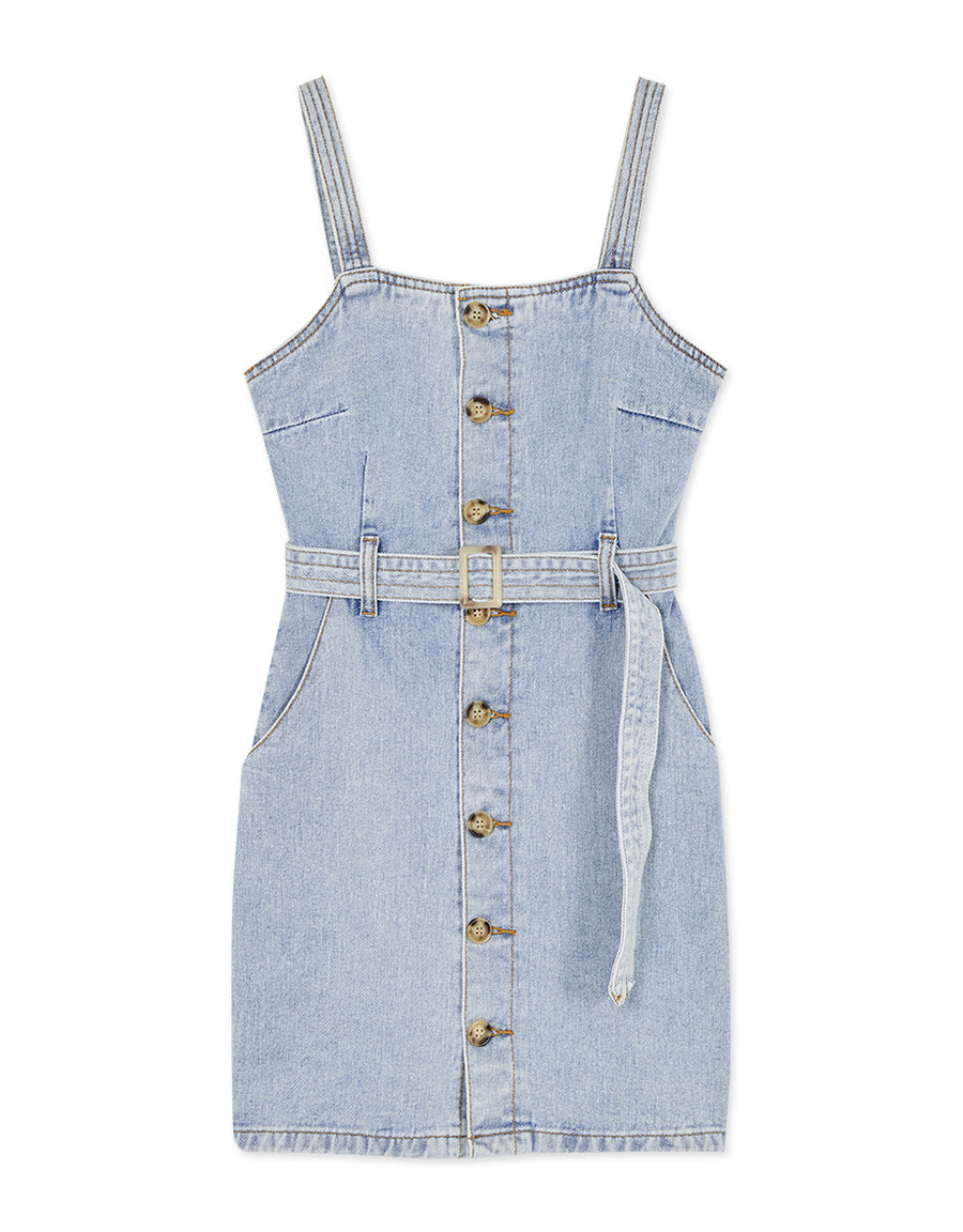 Chic Button Down Thin Strap Denim Belted Dress