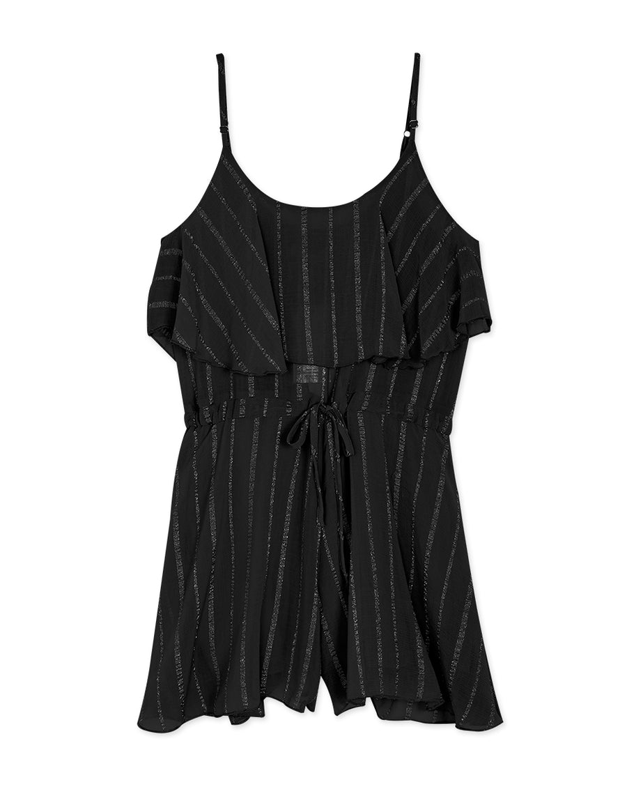 Thin Strap Striped Drawstring Ruffle Playsuit
