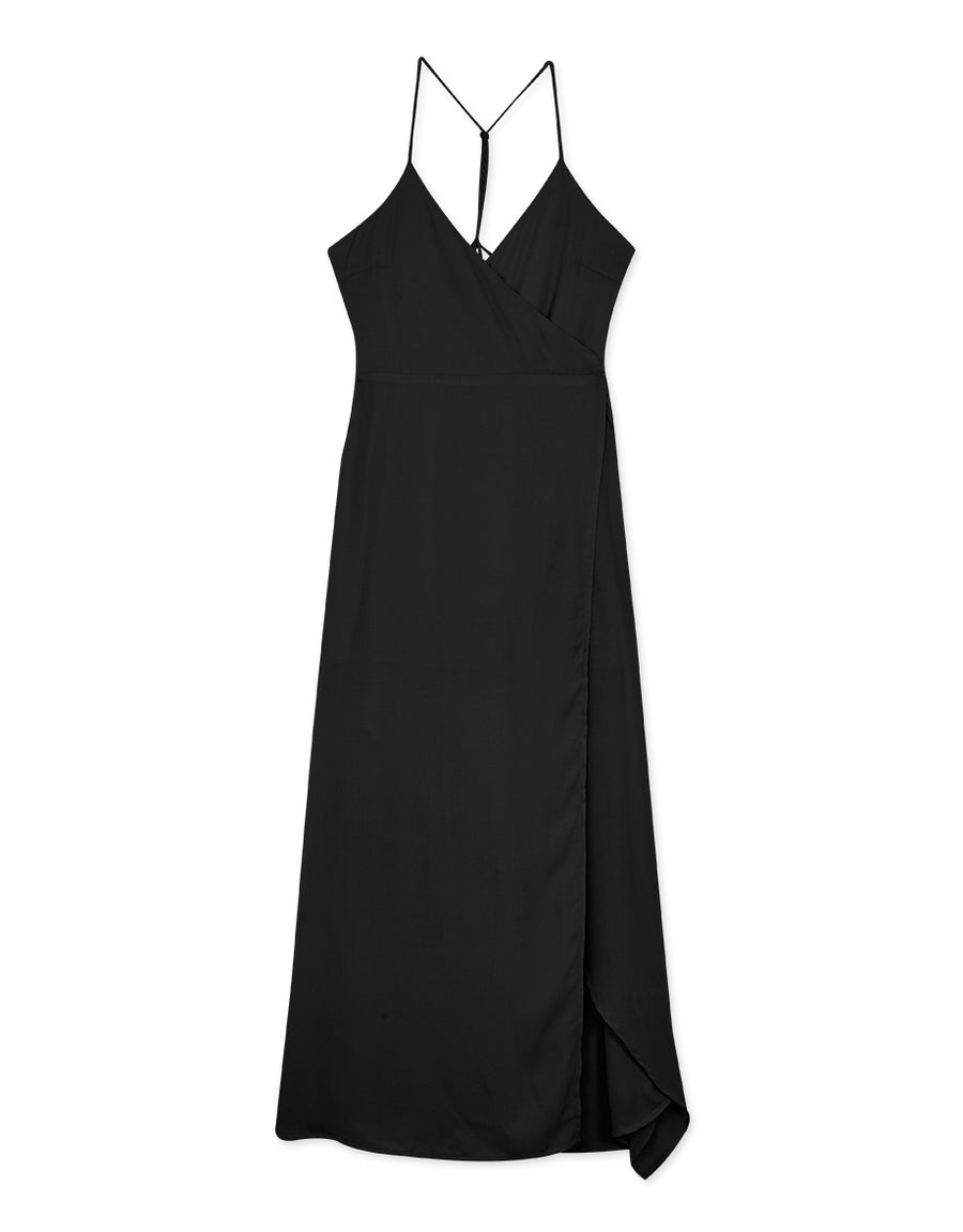 Low Cut Open Back Slit Maxi Chiffon Dress