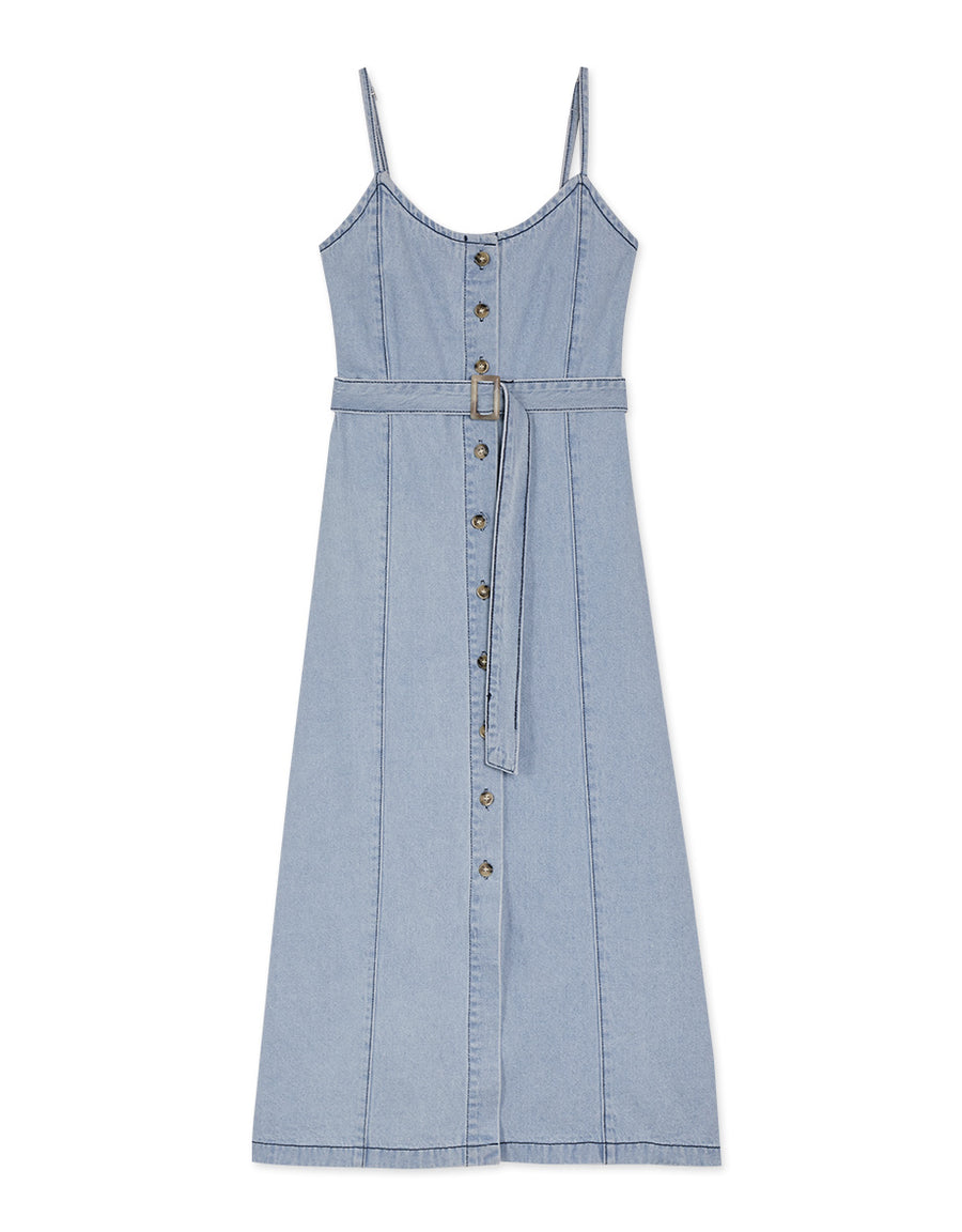 Thin Strap Button Down Silt Belted Denim Dress