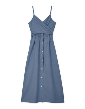 Cross Ribbon Hollow Waist Button Down Dress