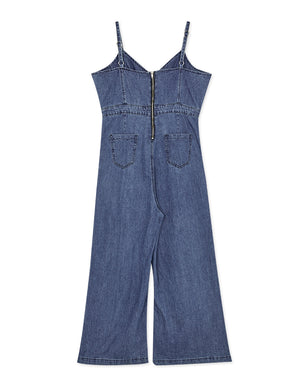 Thin Strap Crossover Denim Jumpsuit