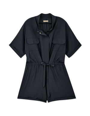 Industrial Style Button Up Ribbon Playsuit