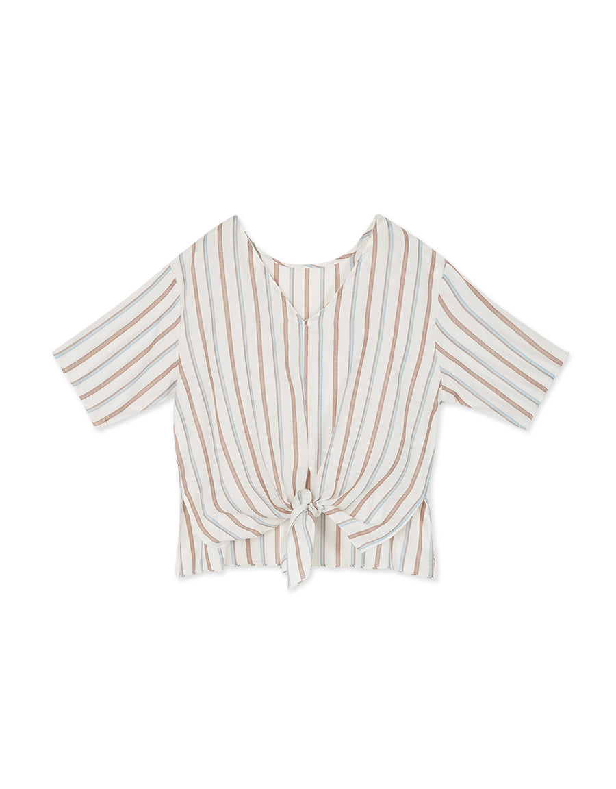 V-Neck Striped Front Tie Elbow-Length Sleeve Top