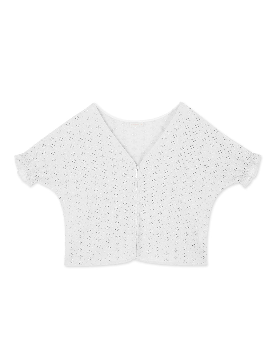 V-Neck Broderie Lace Peasant Sleeve Top