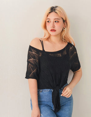Crochet Lace Transparent Front Tie Crop Top