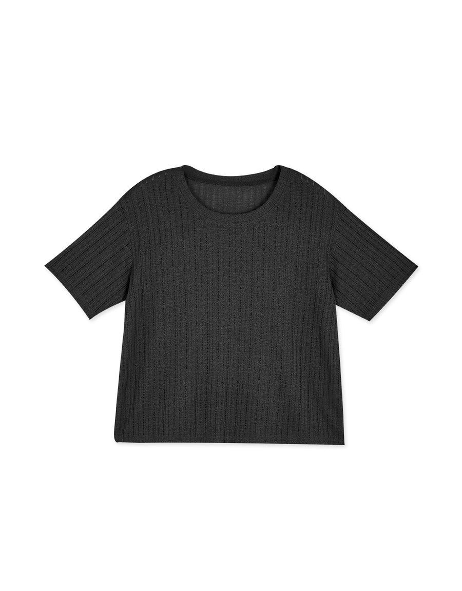 Minimalist Round Neck Ribbed Transparent Top