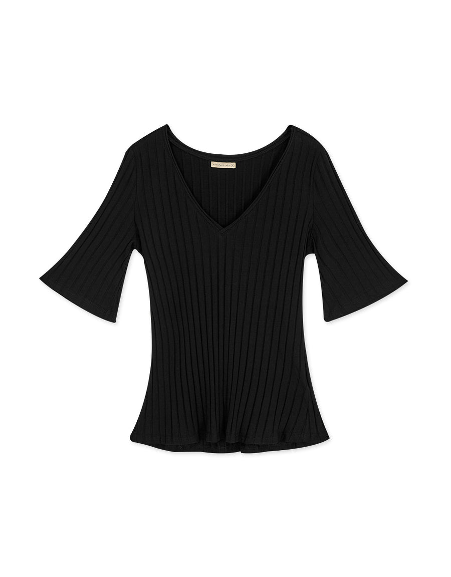 V-Neck Ribbed Knit Fit Top