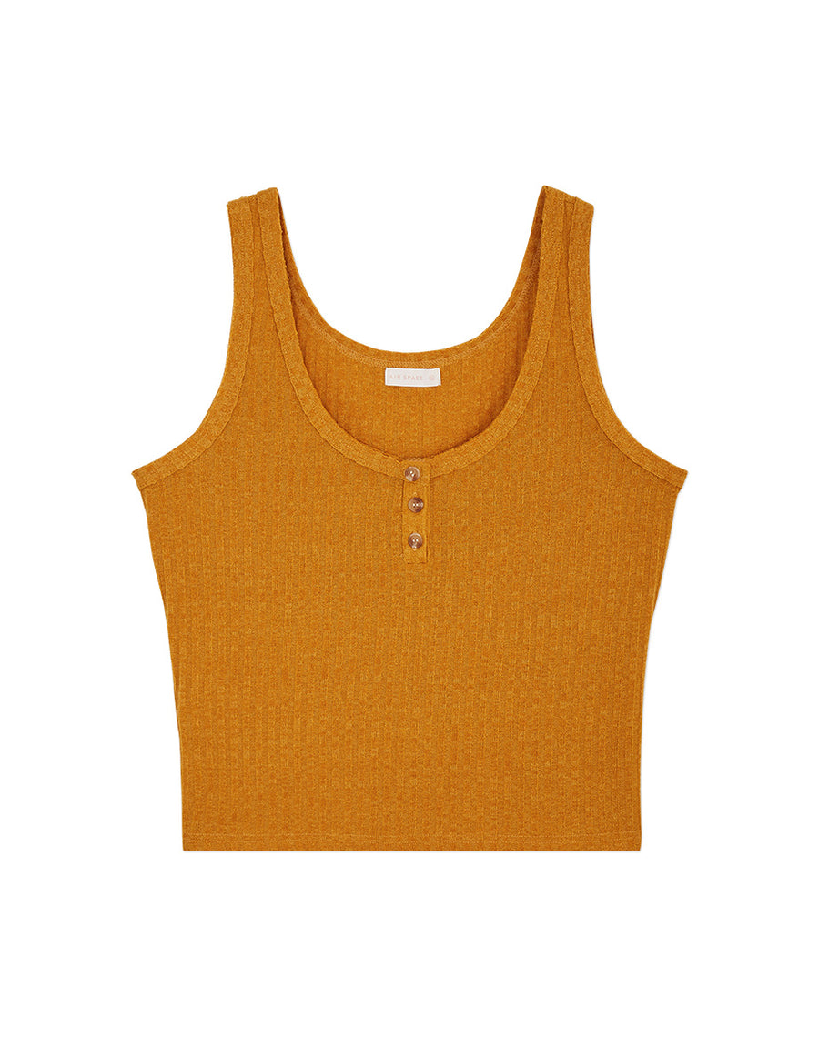 U-Neck Button Up Ribbed Tank Top
