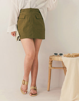 Industrial Style Flap Pocket Skirt