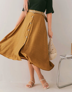 Button Down Asymmetrical Belted Skirt