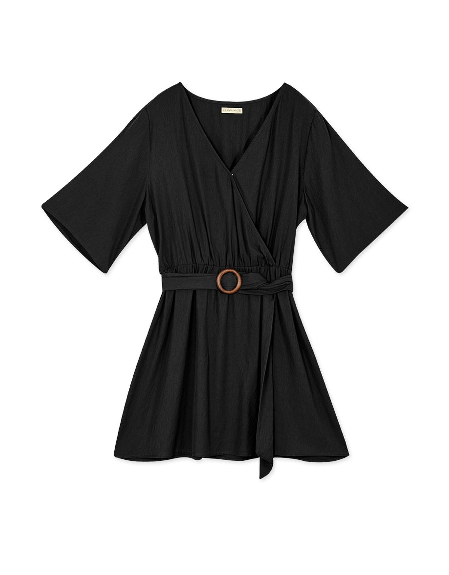Crossover Ruffle Sleeve Belted Dress