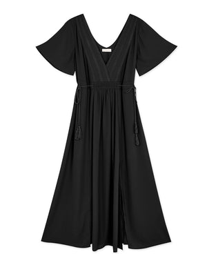 V-Neck Ruffle Sleeve Tassel Side Tie Slit Maxi Dress