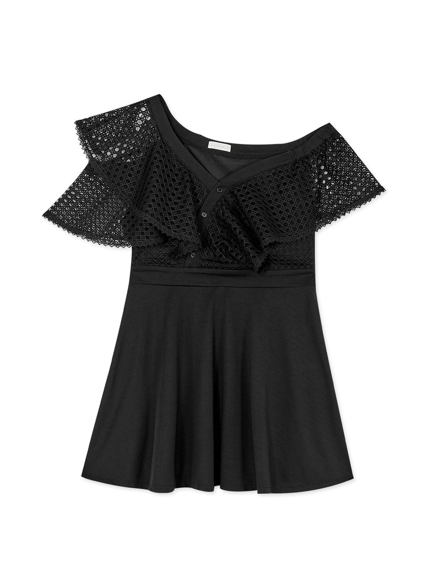 Asymmetrical Ruffle Neck Dress