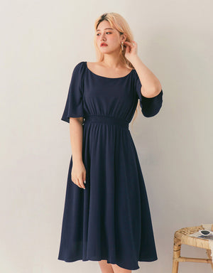 Vintage Flare Sleeve Cinched Waist Midi Dress