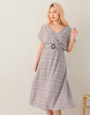 Striped Crossover V-Neck Sheer Midi Dress (with Bralette)