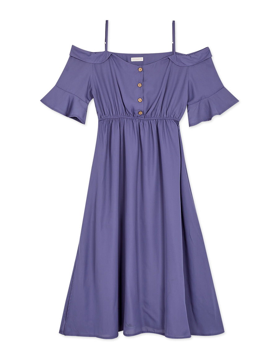 Cold Shoulder Button Up Chiffon Maxi Dress