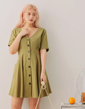 V-Neck Button Down Pocket Dress
