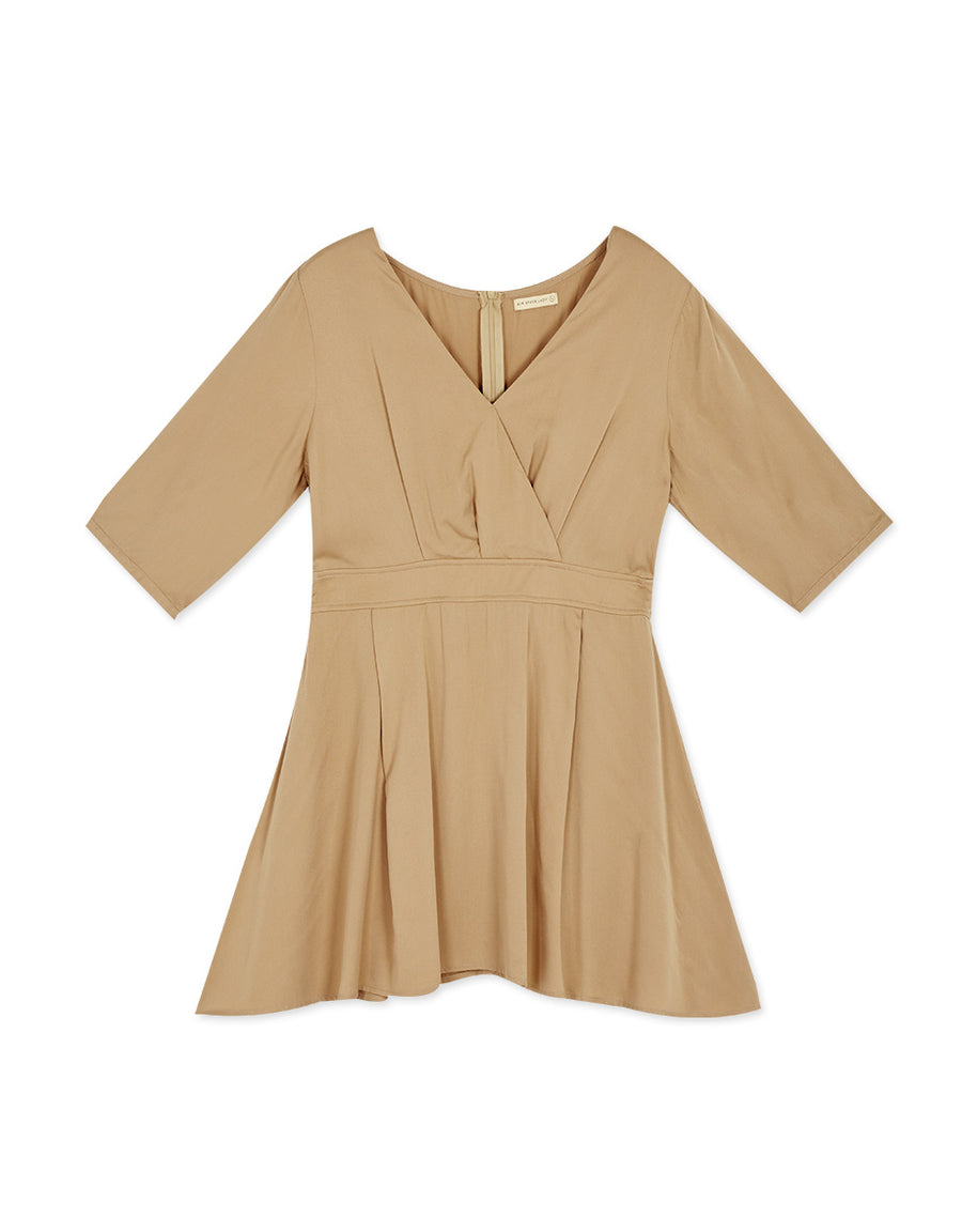 Crossover V-Neck Shirred 3/4 Sleeve Dress