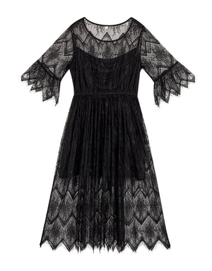 Elegant Round Neck Eyelash Lace 3/4 Sleeve Maxi Dress