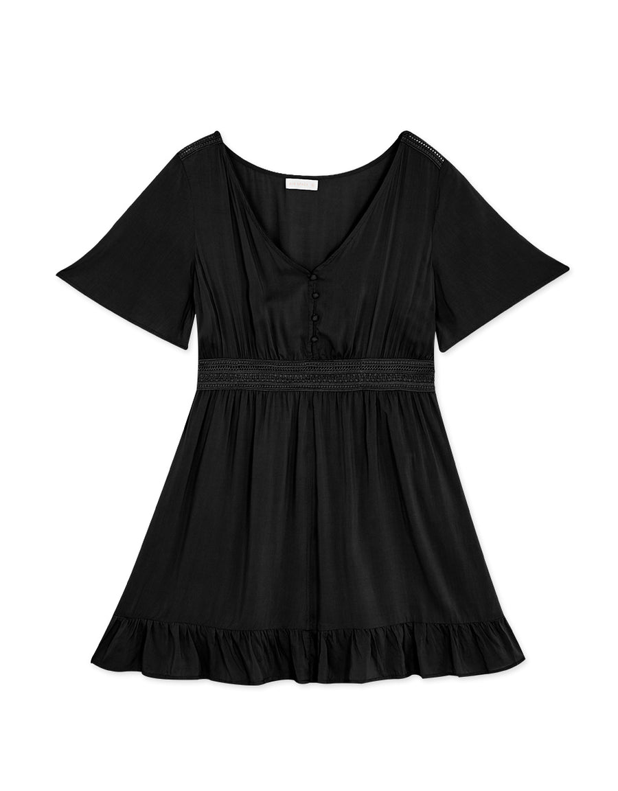 V-Neck Ruffle Splice Button Down Dress