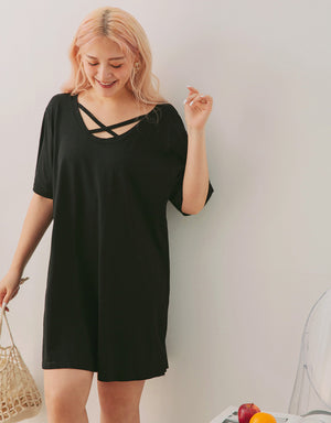2Way Loose Fit Short Sleeve Overdress