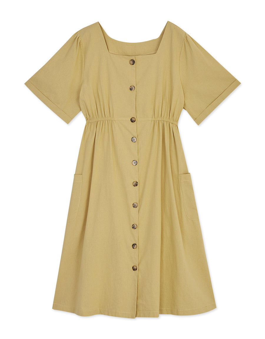 Vintage Square Neck Button Down Midi Dress