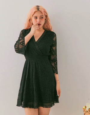 Exquisite V-Neck Lace Trumpet Sleeves Dress