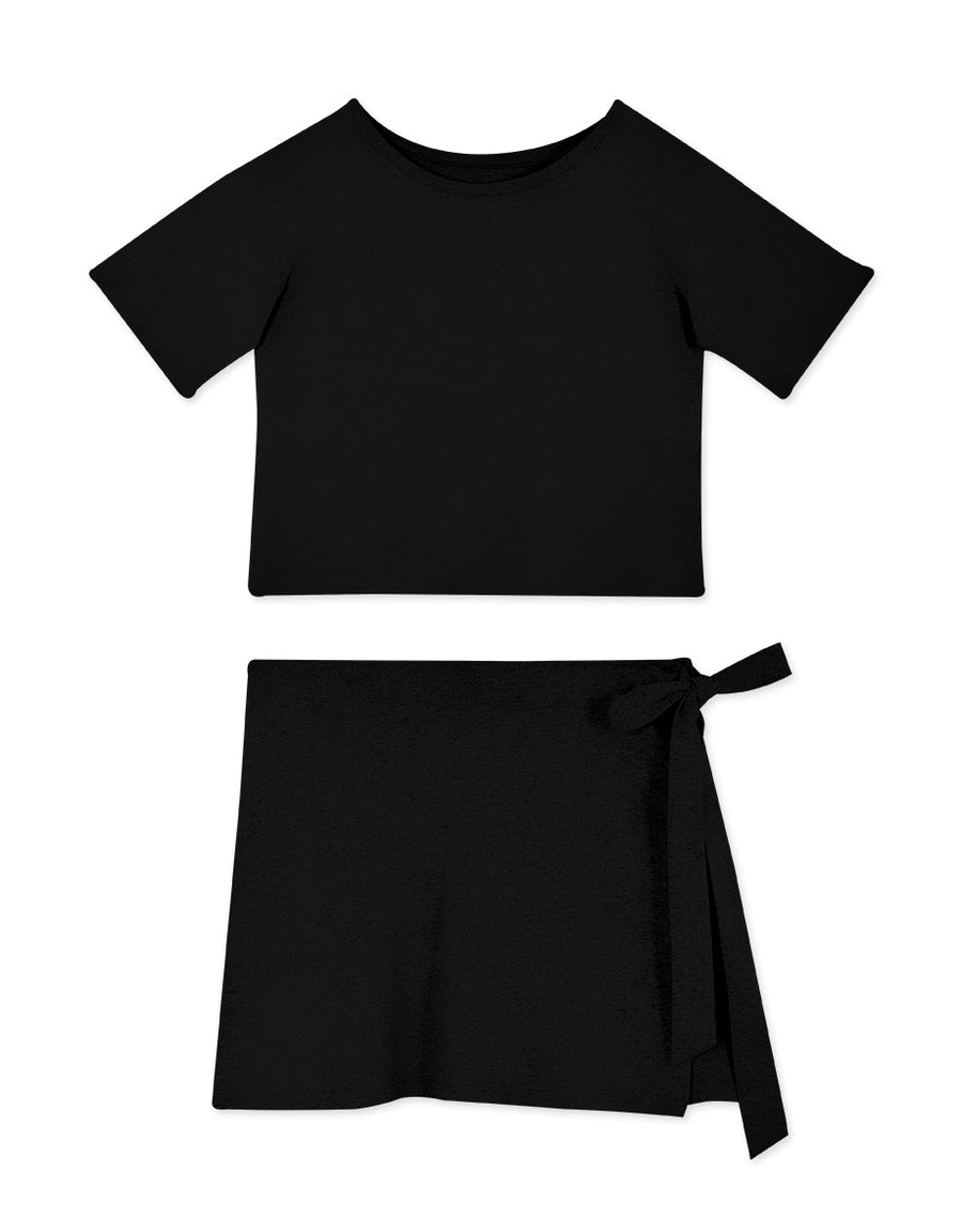 Casual Style Tee & Side Tie Skirt Set Wear