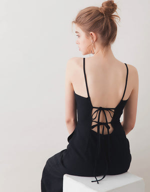 Hollow Back Ribbon Thin Strap Jumpsuit