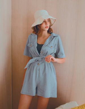 Button Up Creased Waist Denim Belted Playsuit