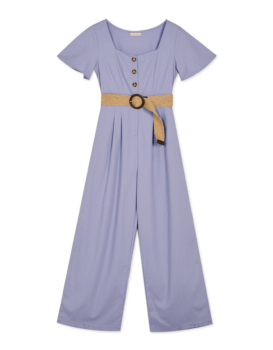 Square Neck Button Up Short Sleeve Belted Jumpsuit