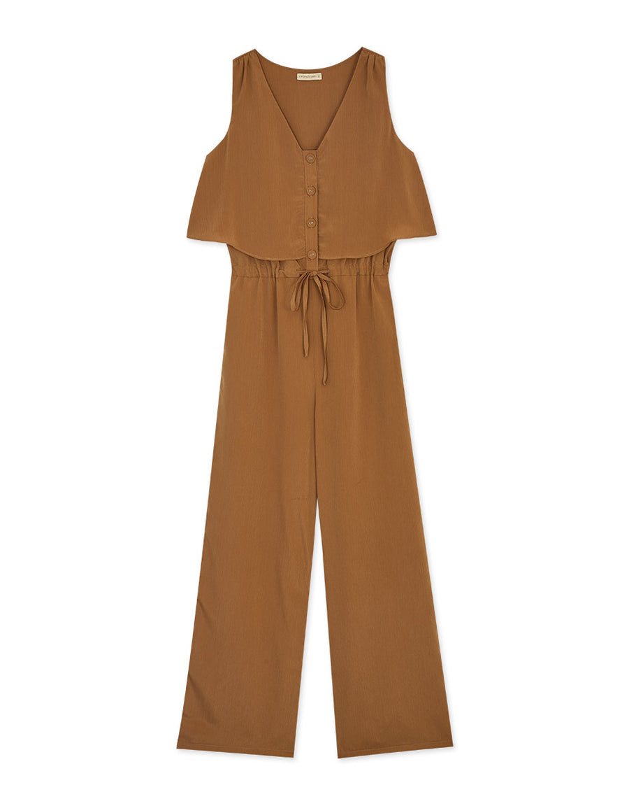 Fine Creased Button Up Sleeveless Jumpsuit