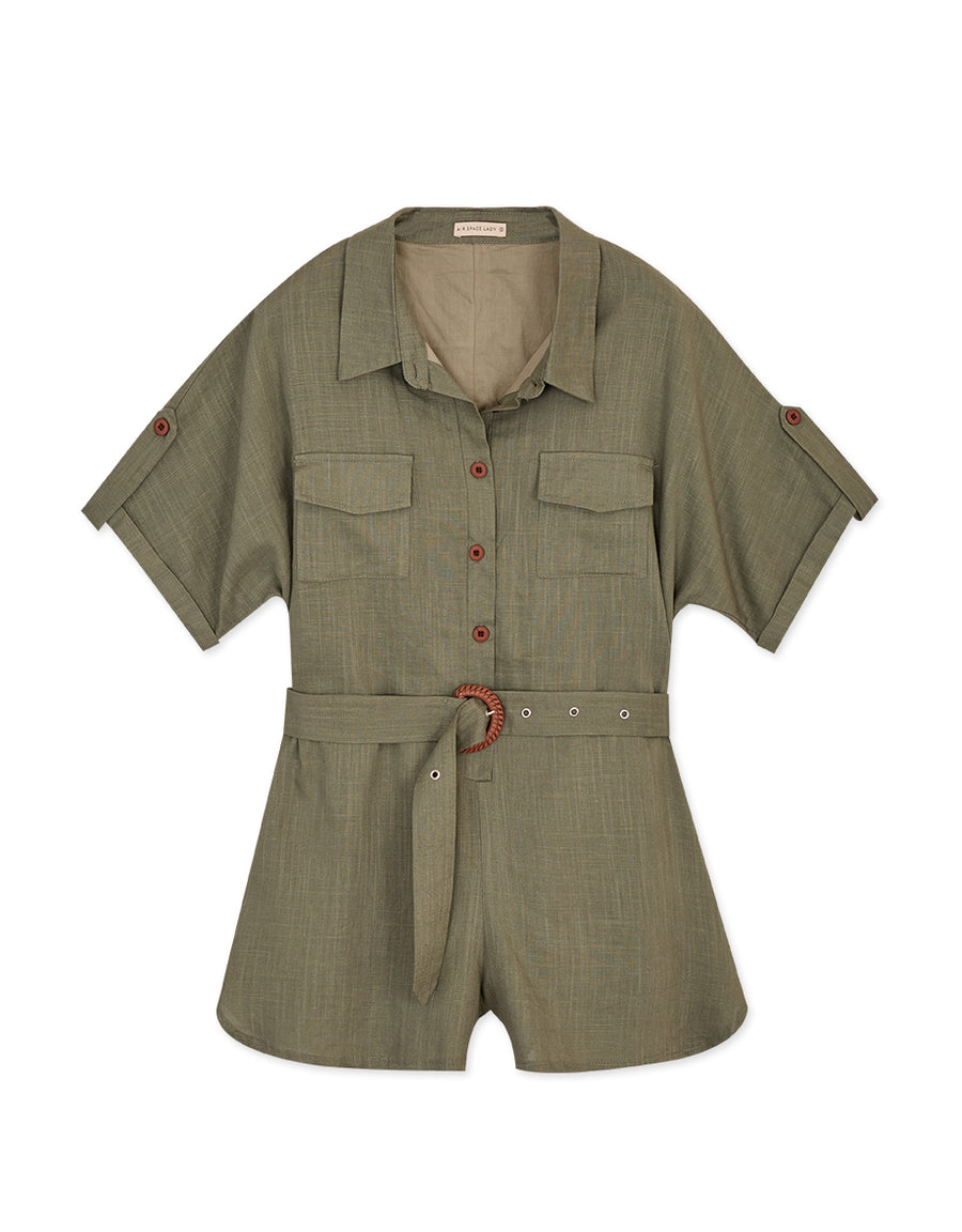 Industrial Foldover Button Up Belted Playsuit