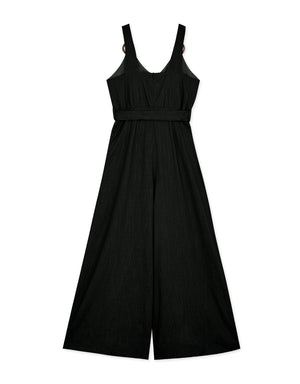 V-Neck Wooden Ring Straps Linen Jumpsuit
