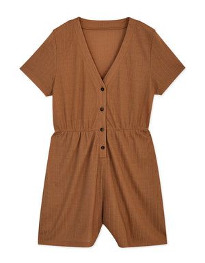 V-Neck Creased Button Up Elastic Playsuit