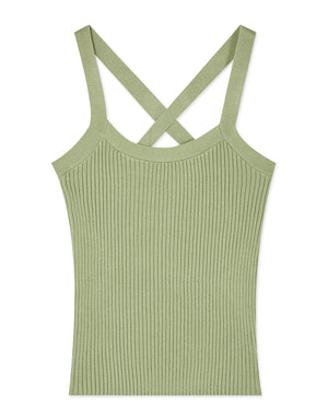 Thick Strap Cross Back Knitted Tank Top