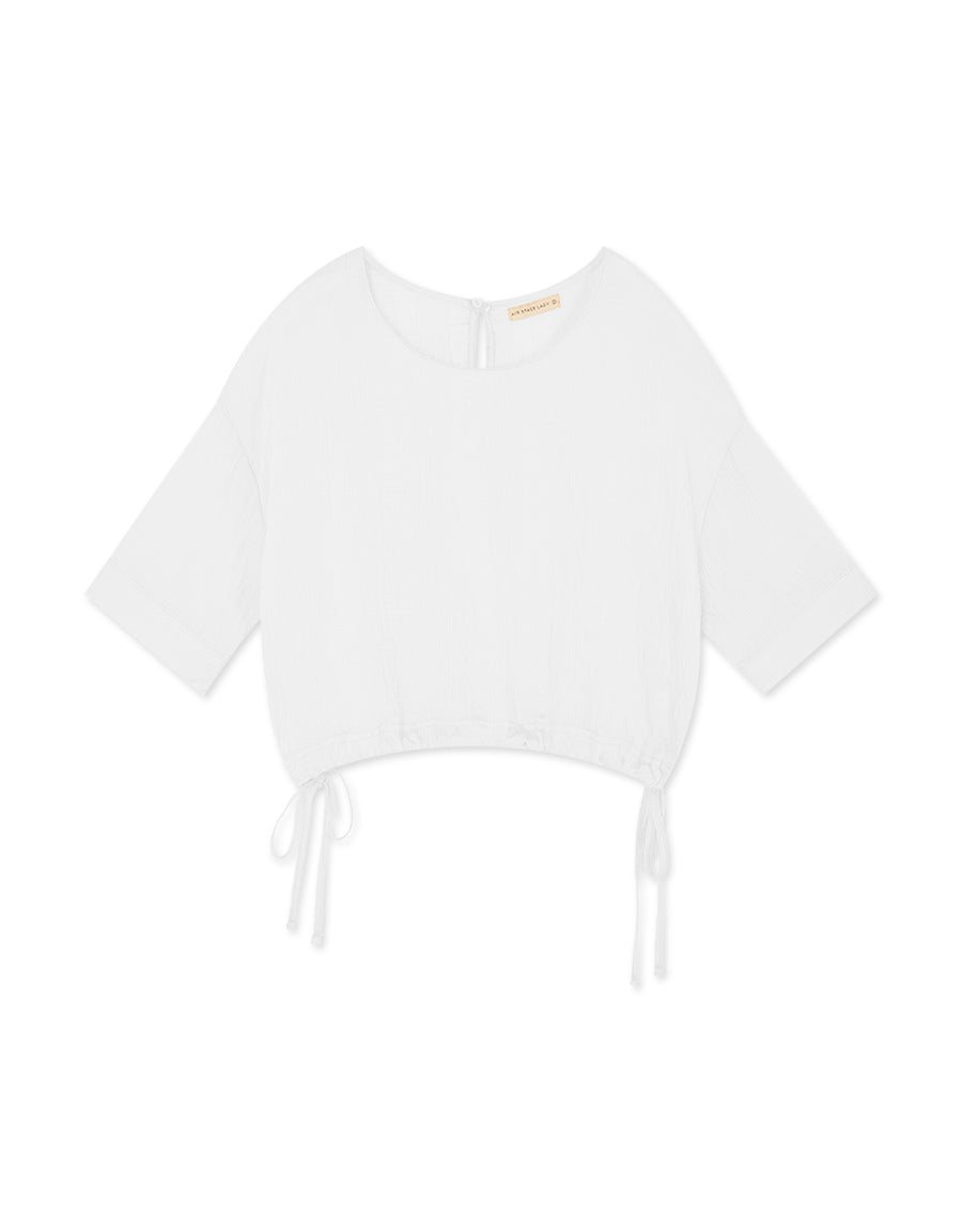 Transparent Side Tie Elbow-Length Top