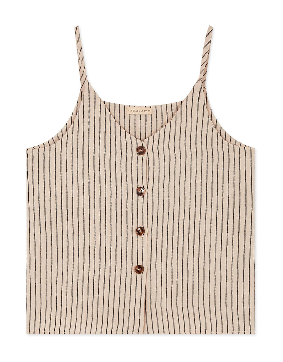 Thin Strap Striped Amber Button Cami Top