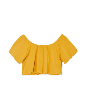 Round Neck Puff Sleeve Stretch Waist Crop Top
