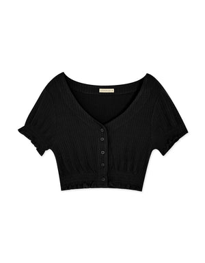 Vintage Button Down Ruffle Hem Knitted Crop Top