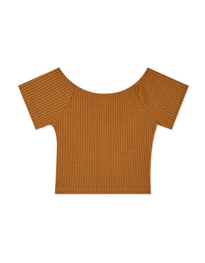 Chic Boat Neck Ribbed Fitted Crop Top