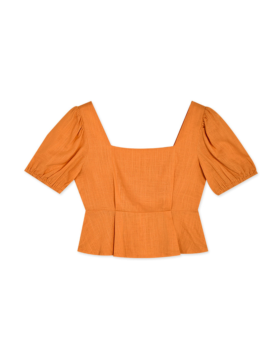 Vintage Square Neck Peplum Puff Sleeve Top