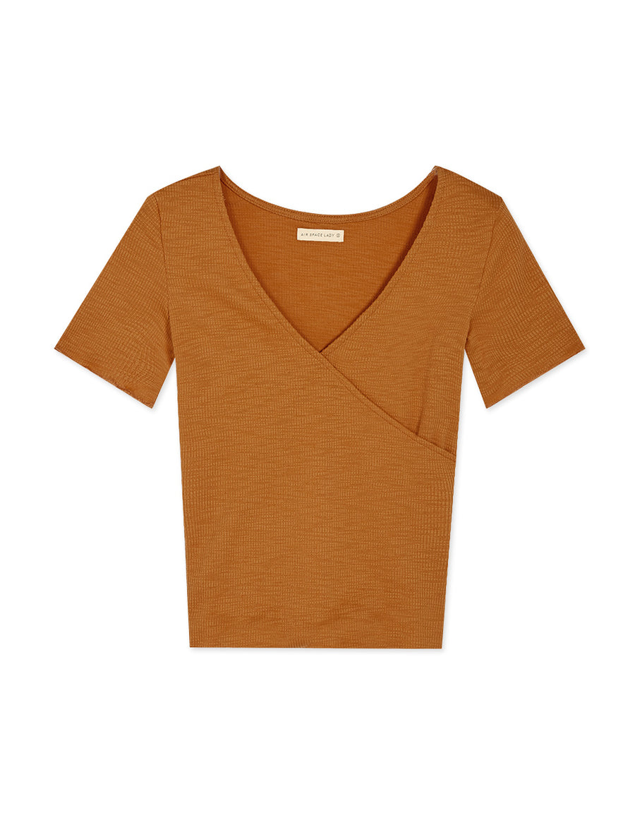 Plain Ribbed Overlap V-Neck Top