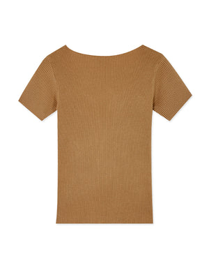 Plain V-Neck Short Sleeve Ribbed Top
